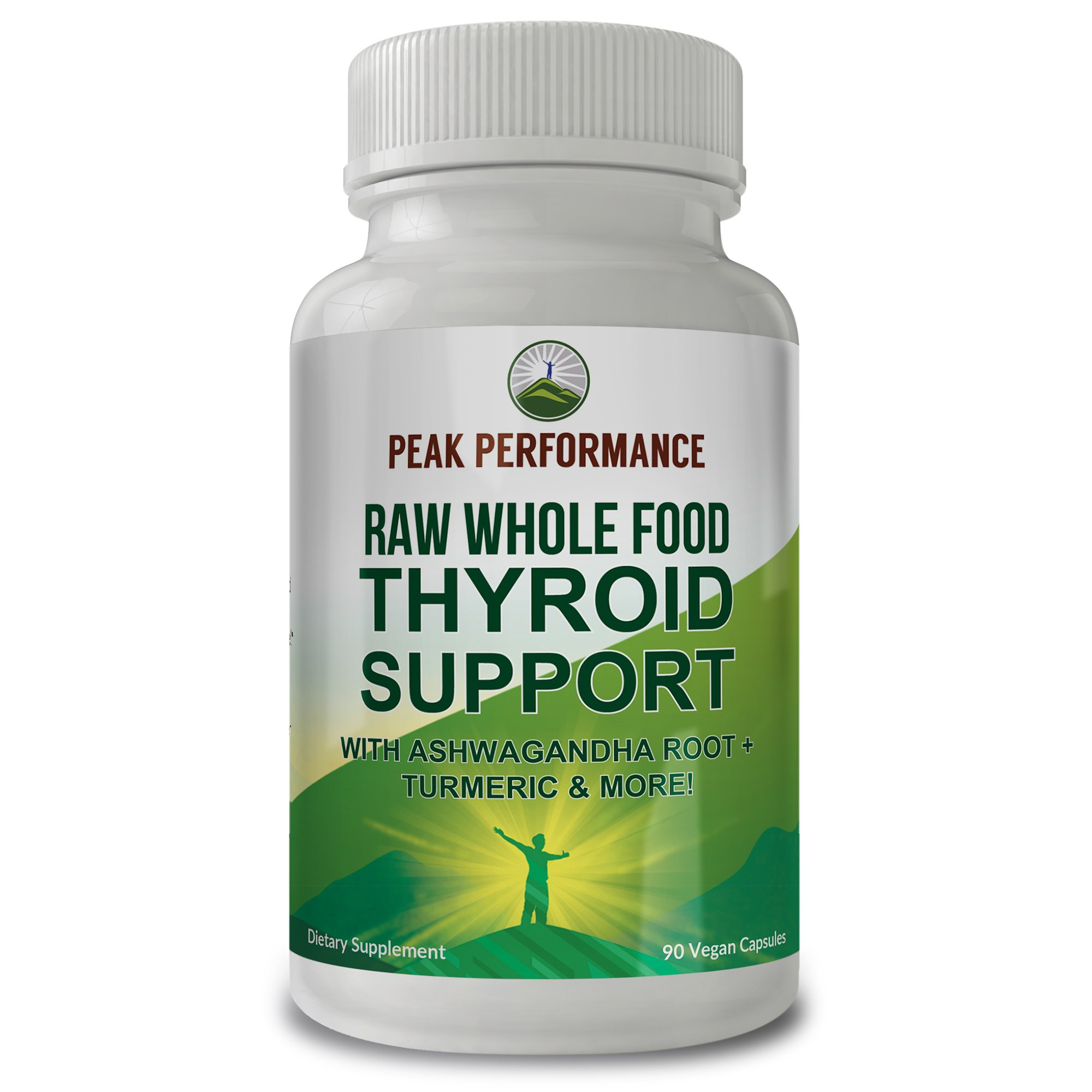 Raw Whole Food Thyroid Support Supplement by Peak Performance. 90 Vegan Capsules with Organic Kelp, Ashwagandha Root, Turmeric, Iodine. for Healthy Thyroid Hormone (1 Pack)