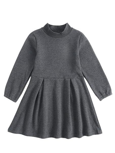 Sanlutoz Sólido Espesamiento Terciopelo Vestidos de niña Chicas Algodón Manga larga Vestido de invierno (3