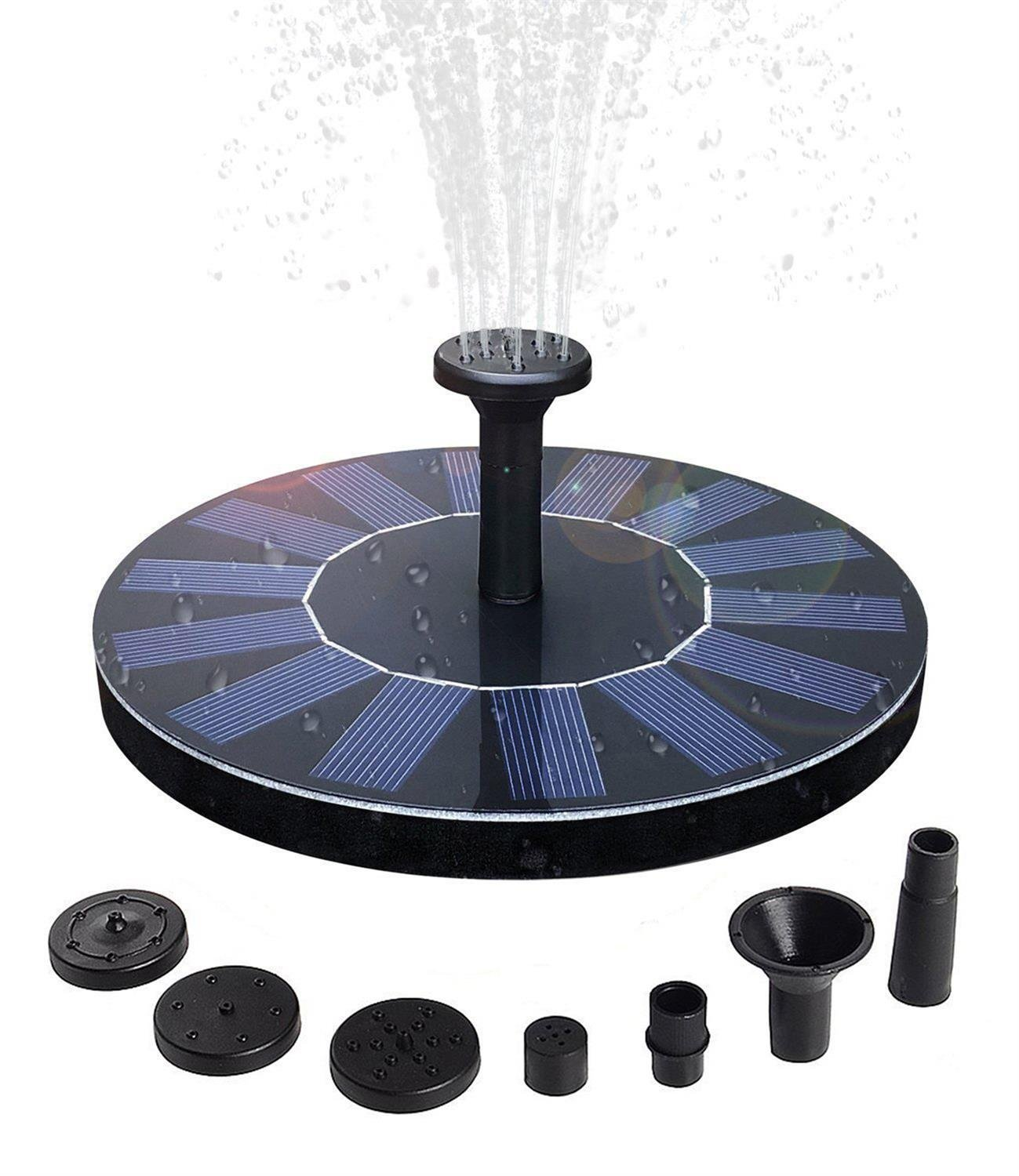 QueenA Solar Fountain Pump,Solar Powered Birdbath Fountain,1.4w Portable Solar Powered Bird Bath Fountain Submersible Free Standing Outdoor Fountain for Pond/Pool/Patio Garden