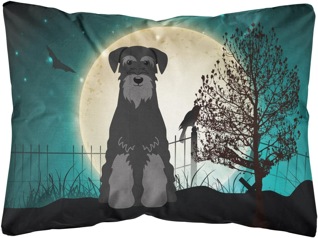 Caroline s Treasures BB2222PW1216 Halloween Scary Standard Schnauzer Black Canvas Fabric Decorative Pillow, 12H x16W, Multicolor