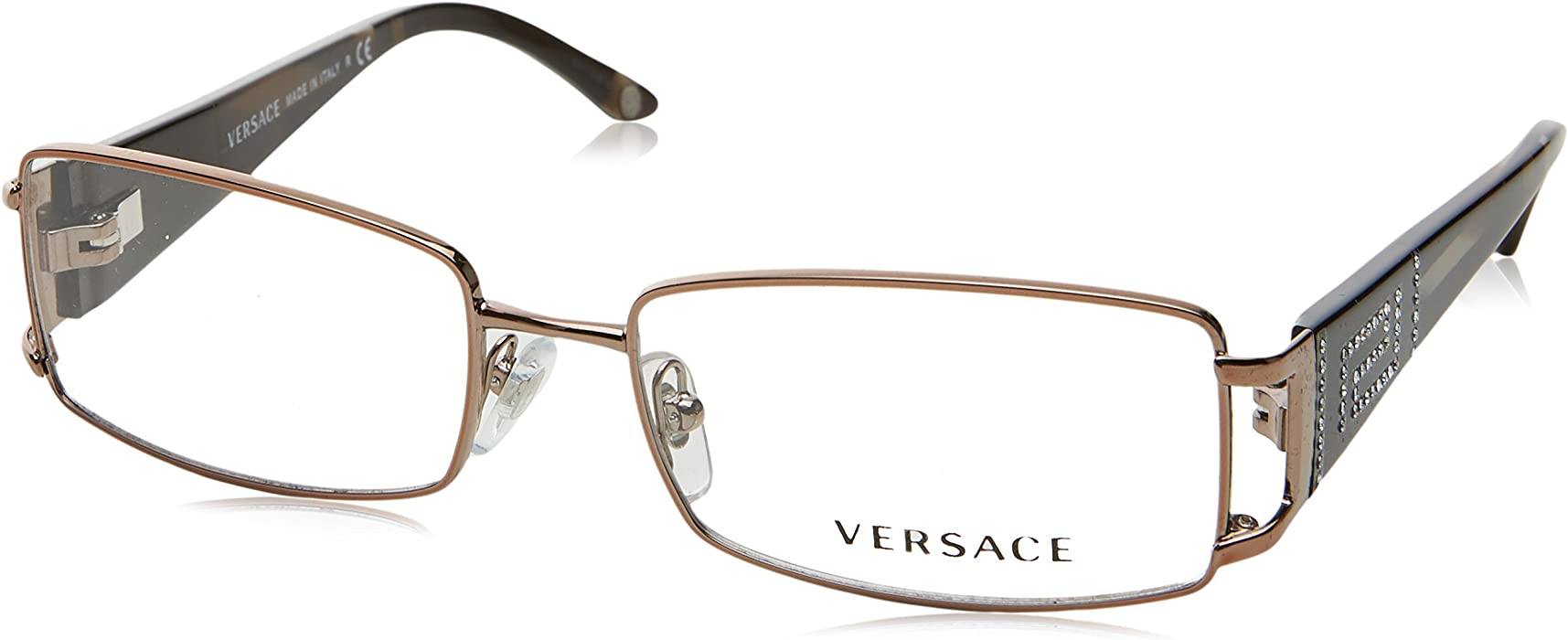 7176d6db773c Amazon.com  Versace VE1163B 1013 Eyeglasses Brown Demo Lens 52-16 ...