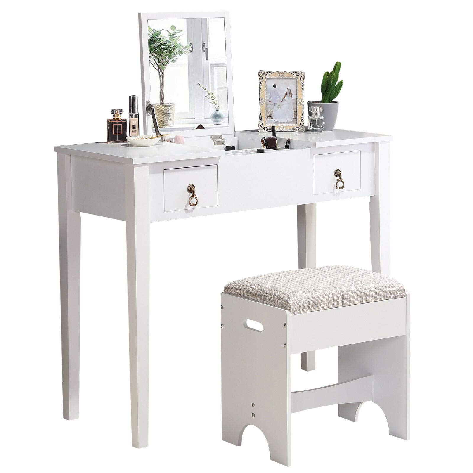 Issavara Mirror Makeup Vanity Dressing Table Set Stool Flip Top 2 Drawer Writing Desk Style Beauty White Bedroom Wood