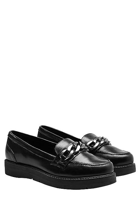 next Mujer Zapatos Zapatillas De Piel Estilo Mocasines Adorno De Cadena Suela Gruesa: Amazon.es: Zapatos y complementos