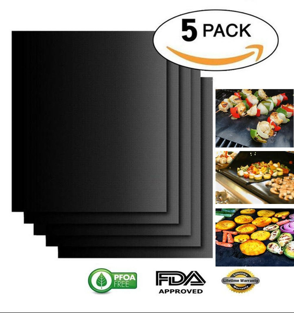 Grill Mat Non Stick BBQ Copper Magic Bake Mat Set of 5 Reusable Easy to Clean