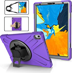 iPad 11 Pro Case 2018 Heavy Duty | TSQ iPad Pro 1st Gen Case 11 Inch Full Body Protective | Rubber Silicone Hard Shockproof Carrying Defender Case w/ 360 Stand, Handle Hand/Shoulder Strap | Purple