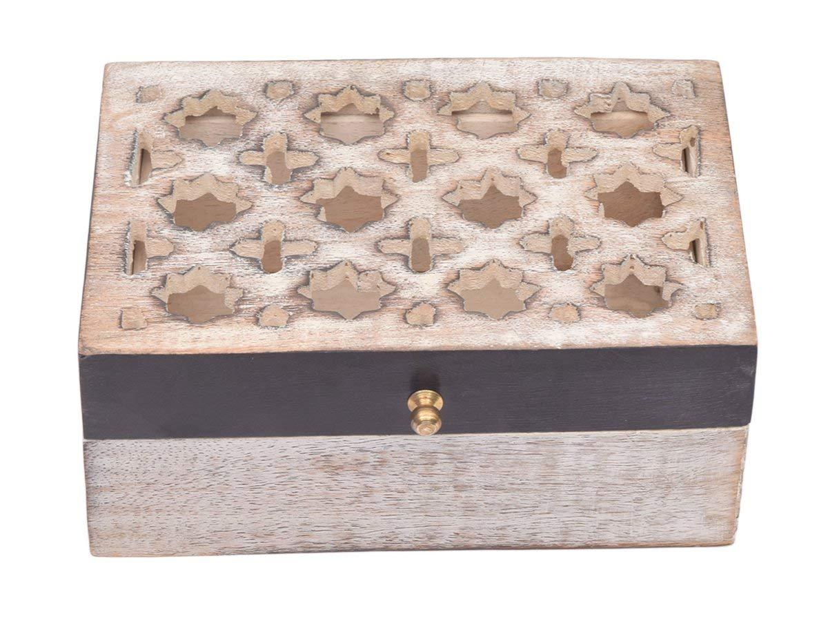 Handmade Wooden Jewellery Box Keepsake Storage Organizer Multipurpose Treasure Chest Trinket Holder for Women Men Girls Hand Carvings Designs.