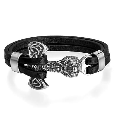 e6172f57433d5 Flongo Bracelet Manchette en Cuir Décoration de Marteau de Thor en Acier  Inoxydable Style Personnalisé pour