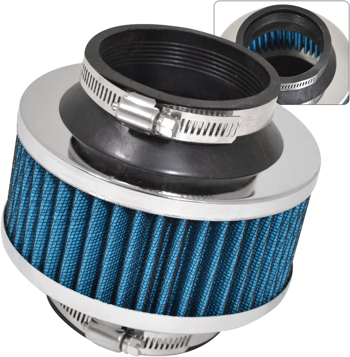 "BLUE UNIVERSAL 3/"" 76mm AIR FILTER FOR MERCEDES-BENZ SHORT//COLD AIR INTAKE 2"
