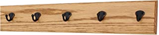 """product image for PegandRail Oak Wall Mounted Coat Rack with Aged Bronze Singular Style Hooks 4.5"""" Ultra Wide (Golden Oak, 25.5"""" x 4.5"""" with 5 Hooks)"""