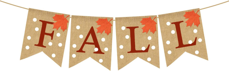 Rainlemon Jute Burlap Fall Banner Happy Thanksgiving Day Harvest Fireplace Mantel Garland Bunting Decoration