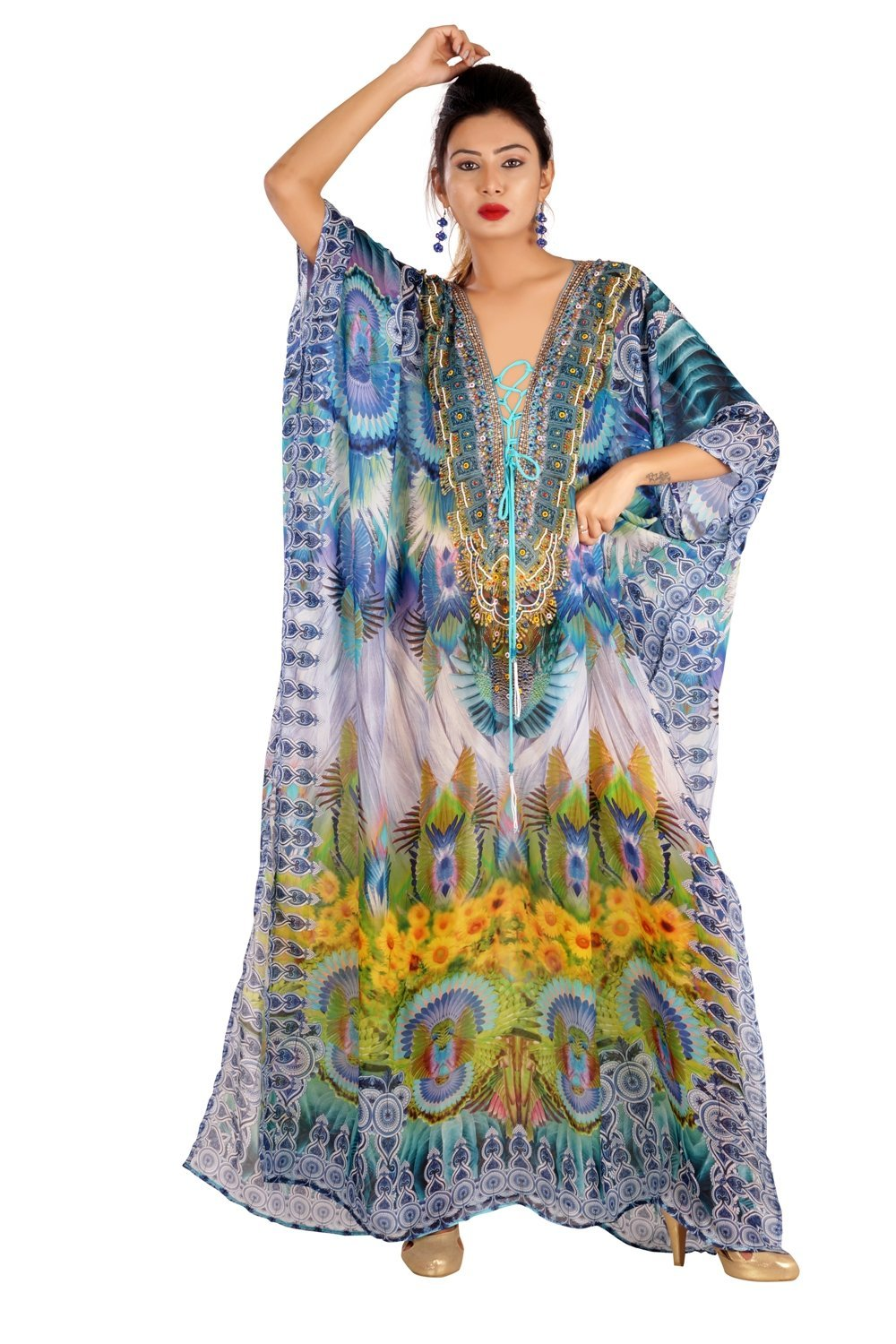 New 100% silk kaftan swaroski beads digital printed lace up full length caftan silk 283
