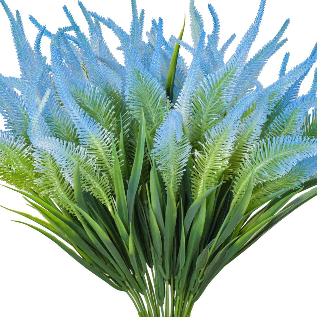 Artificial Fake Flowers, 6 Bundles Large UV Resistant Faux Plastic Greenery Foliage Plants Shrubs for Garden, Wedding, Outside Hanging Planter, Farmhouse Indoor or Outdoor etc Decor