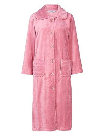 Slenderella Ladies Button Up Soft Fleece Dressing Gown Luxury Bath ...