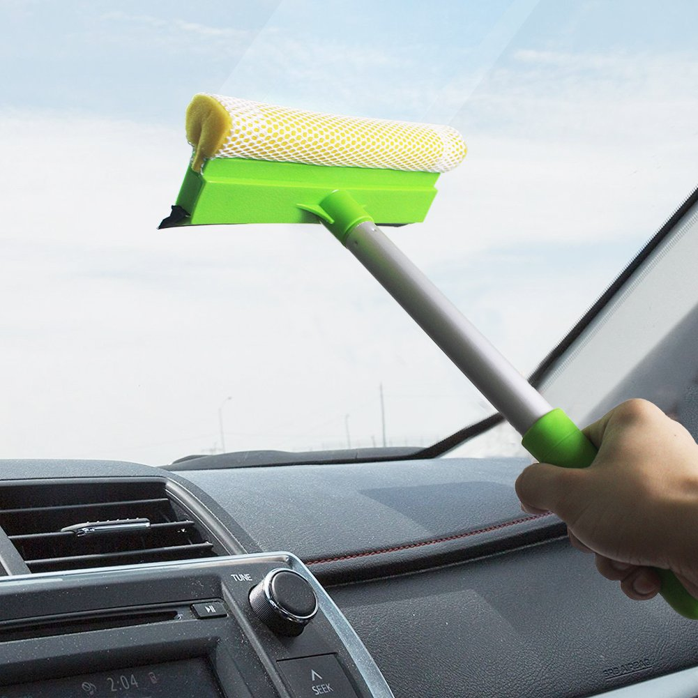 2 in 1 Window Cleaning Mesh Scrubber and Professional Window Squeegee Washing Tools of Car Glass Cleaning (Squeegee with Handy Pole+ Extension Pole) by GLOYY (Image #5)