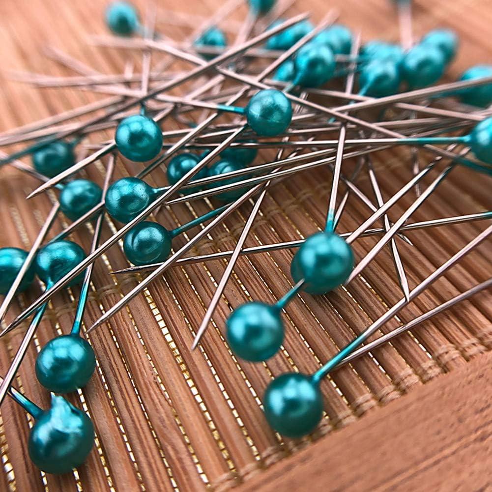 INGHU Spilli con Testa a Perle 100 Pezzi Blue Taglia Libera per Sartoria e Cucito