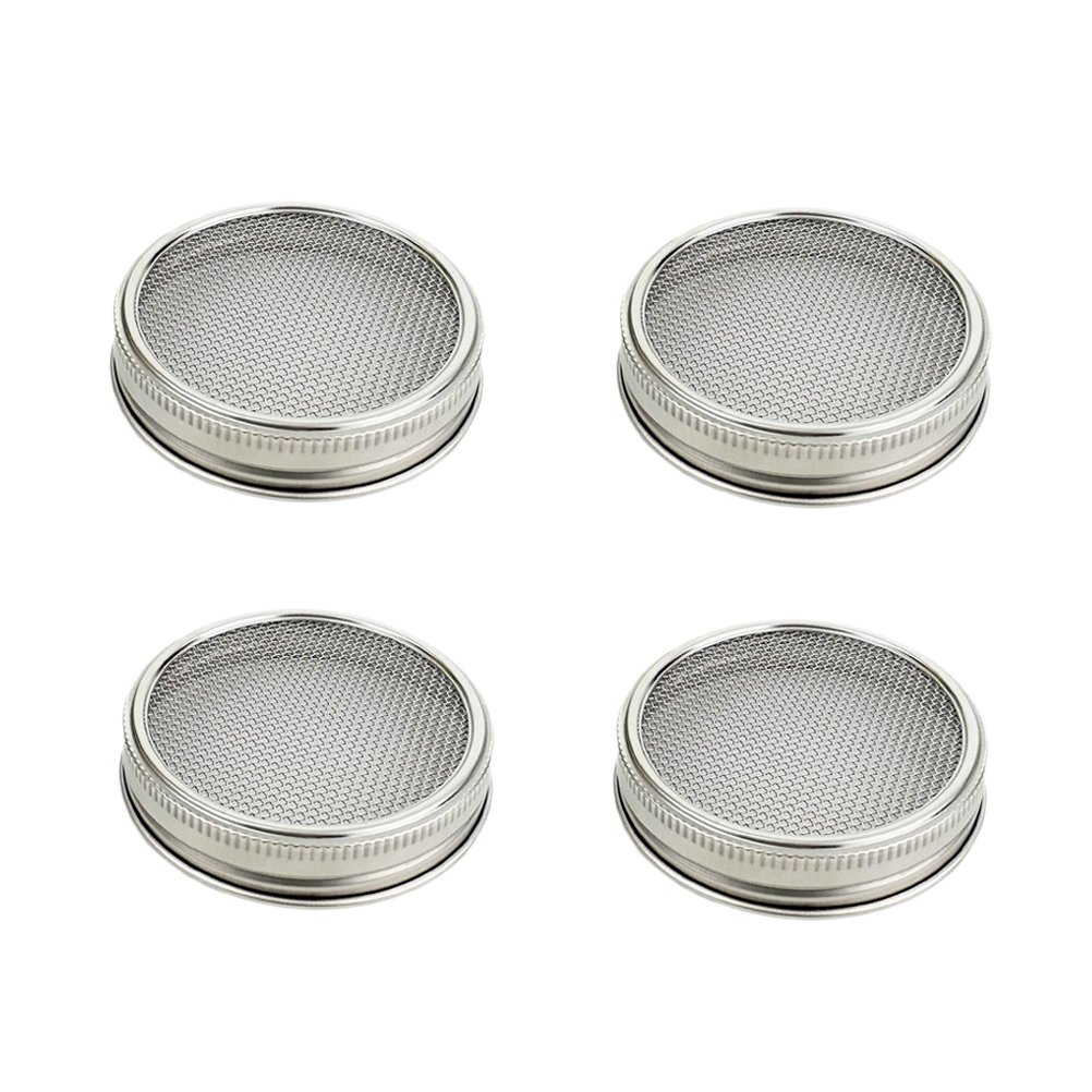 BESTONZON 4Pcs Stainless Steel Sprouting Lids for Wide Mouth Mason Jars for Making Organic Sprout Seeds in House and Kitchen 3.3 Inch