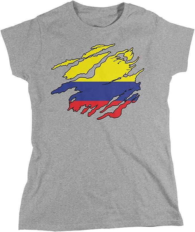 Rip mediante diseño de bandera de Colombia, Bandera de Colombia camiseta de las mujeres, amdesco: Amazon.es: Ropa y accesorios