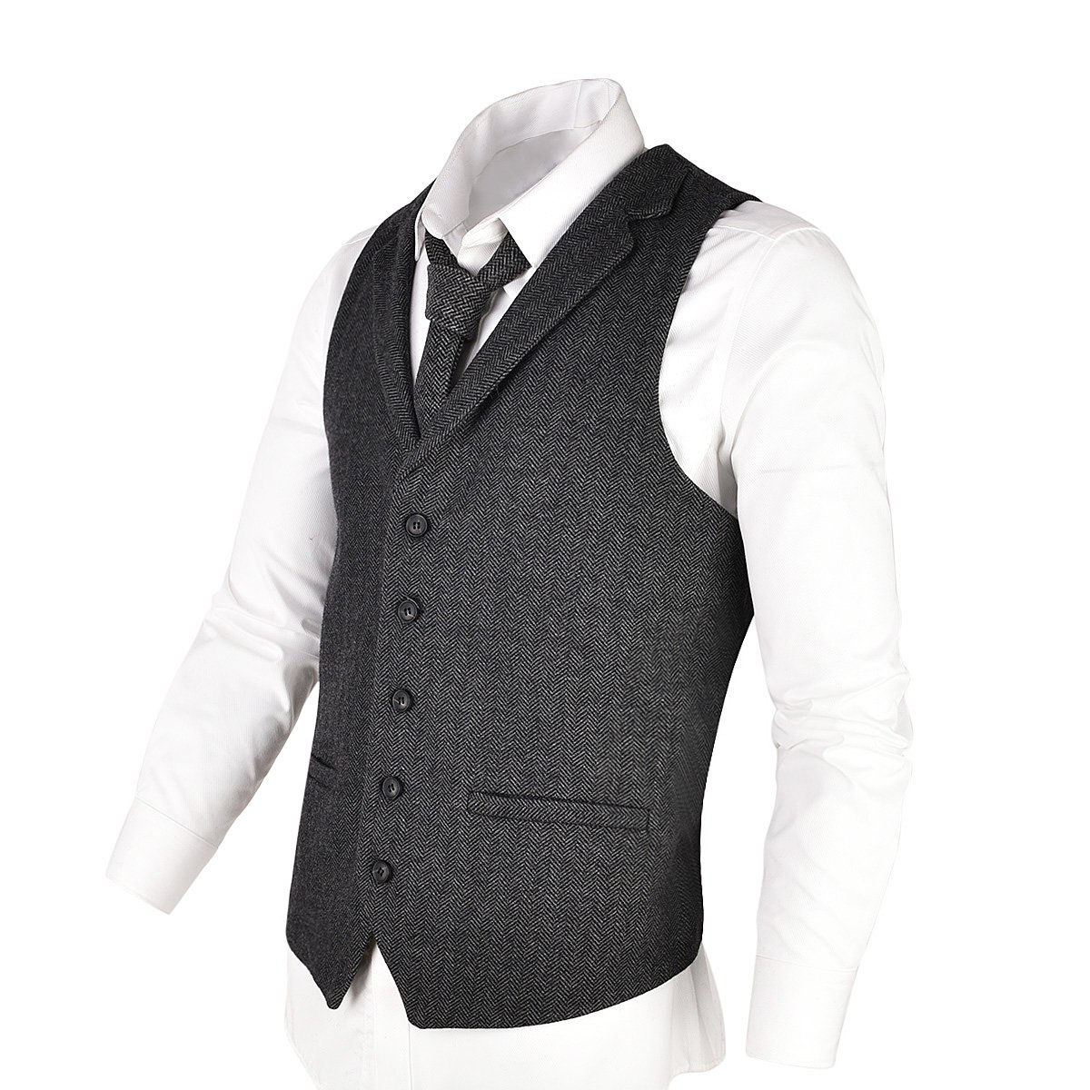 VOBOOM Mens Herringbone Tailored Collar Waistcoat Fullback Wool Tweed Suit Vest (Dark Grey, L)