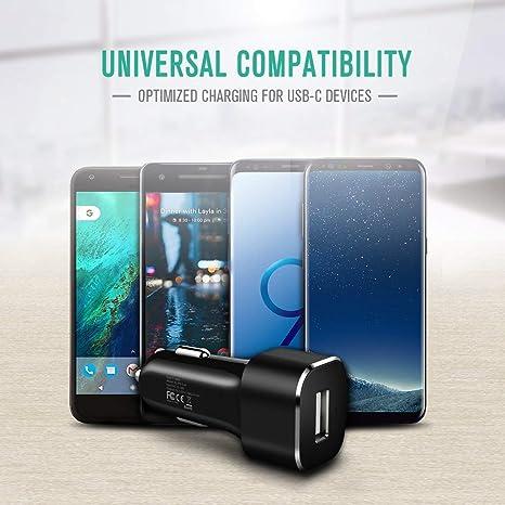 Nekteck Cargador de Coche USB Tipo C Carga Rápida 27W Cargador Móvil para Samsung Galaxy S10 S9 Pixel 3A XL Huawei LG Nexus HTC y más