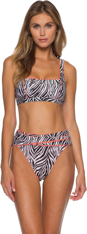 Becca by Rebecca Virtue Womens Olivia Animal Print Square Neck Bikini Top