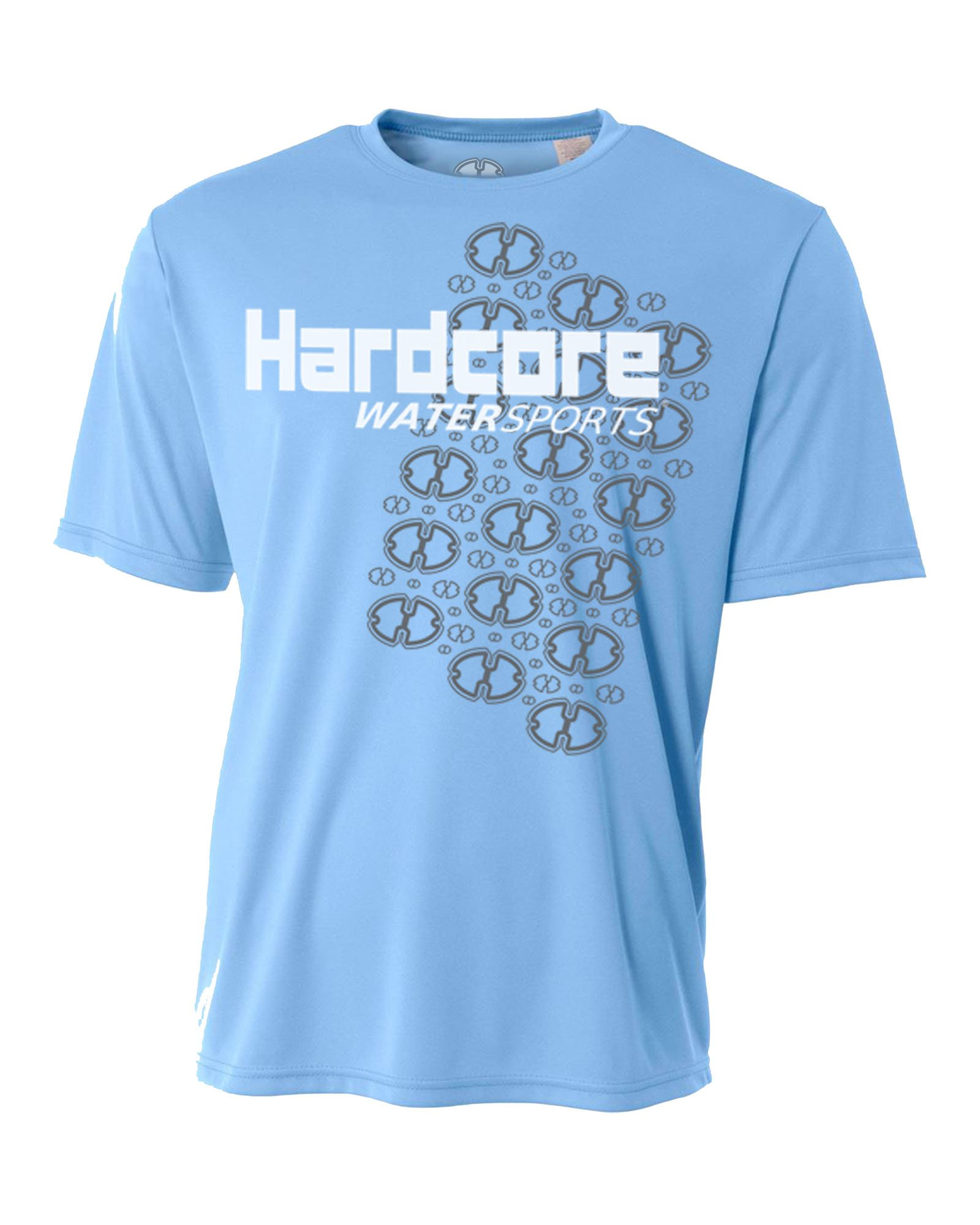 Hardcore Mens Rash Guard Surf Swim Shirt Water Sports SPF Protection Loose Fit Light Blue