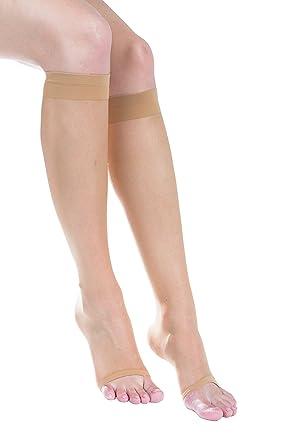 d4a3f40dbaa 2 Pairs of Felicity Open Toe Sheer Knee High Socks Women Trouser Dress Socks  (Dark Skin (2 Pack)) at Amazon Women s Clothing store
