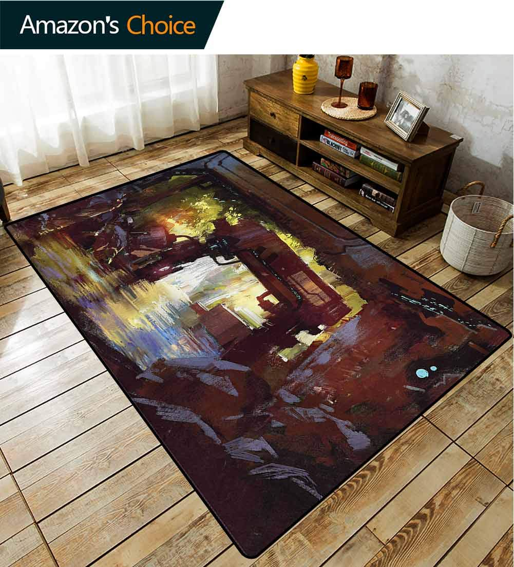 TableCoversHome Industrial Paisley Door Mats Outdoor, Machine Forest Pattern Printing Door Mat, Fashionable High Class Living Bedroom Rugs (3'x 5') by TableCoversHome