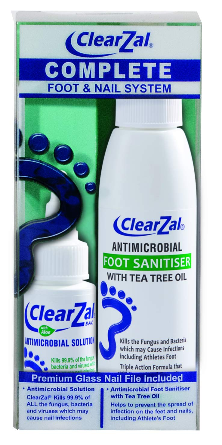 ClearZal Complete Foot & Nail System Kit with Antimicrobial Nail Solution. Foot Sanitizer Liquid Soap with Tea Tree Oil That Deodorizes, and Nail File. by Clearzal