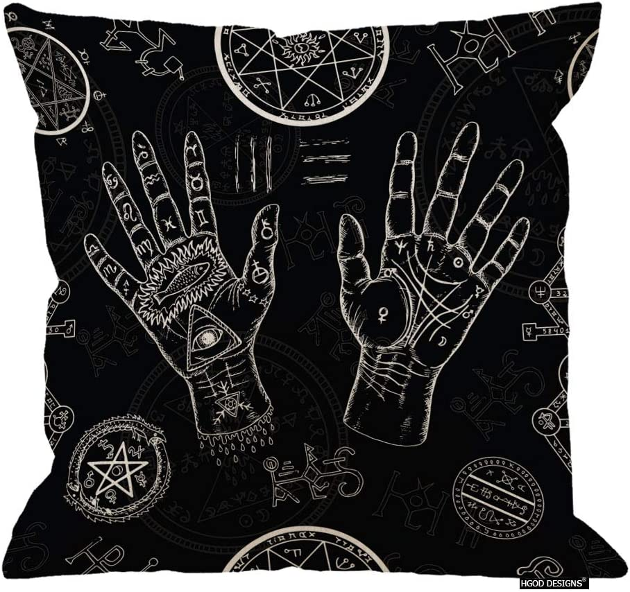 HGOD DESIGNS Throw Pillow Cover White Chiromancy with Human Hands Pentagram and Mystic Symbols on Black Repeated with Life Lines Palms Decorative Pillow Case Home Decor Square 18X18 Inches Pillowcase