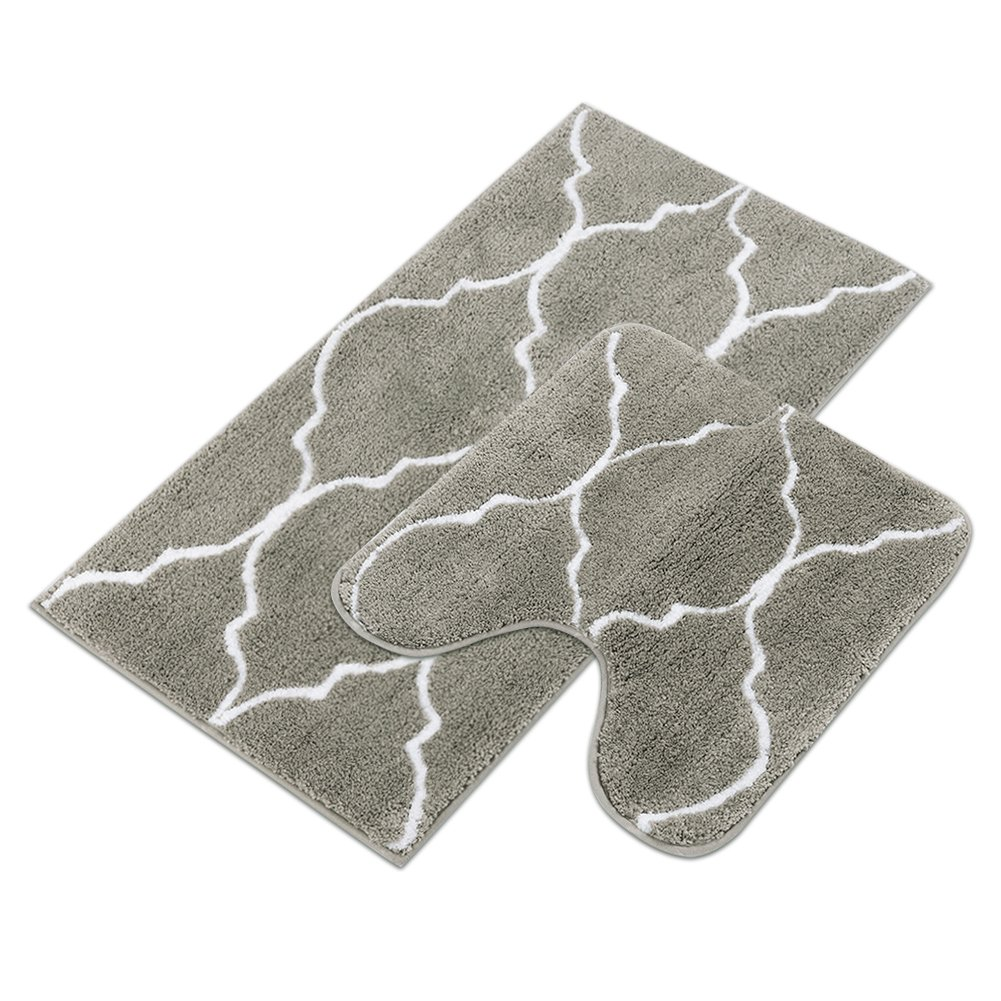 Homcomoda 2 Piece Bath Rugs Set Microfiber Washable Bath Mats with Contour Toilet Rug U-Shaped for Bathroom(Grey)