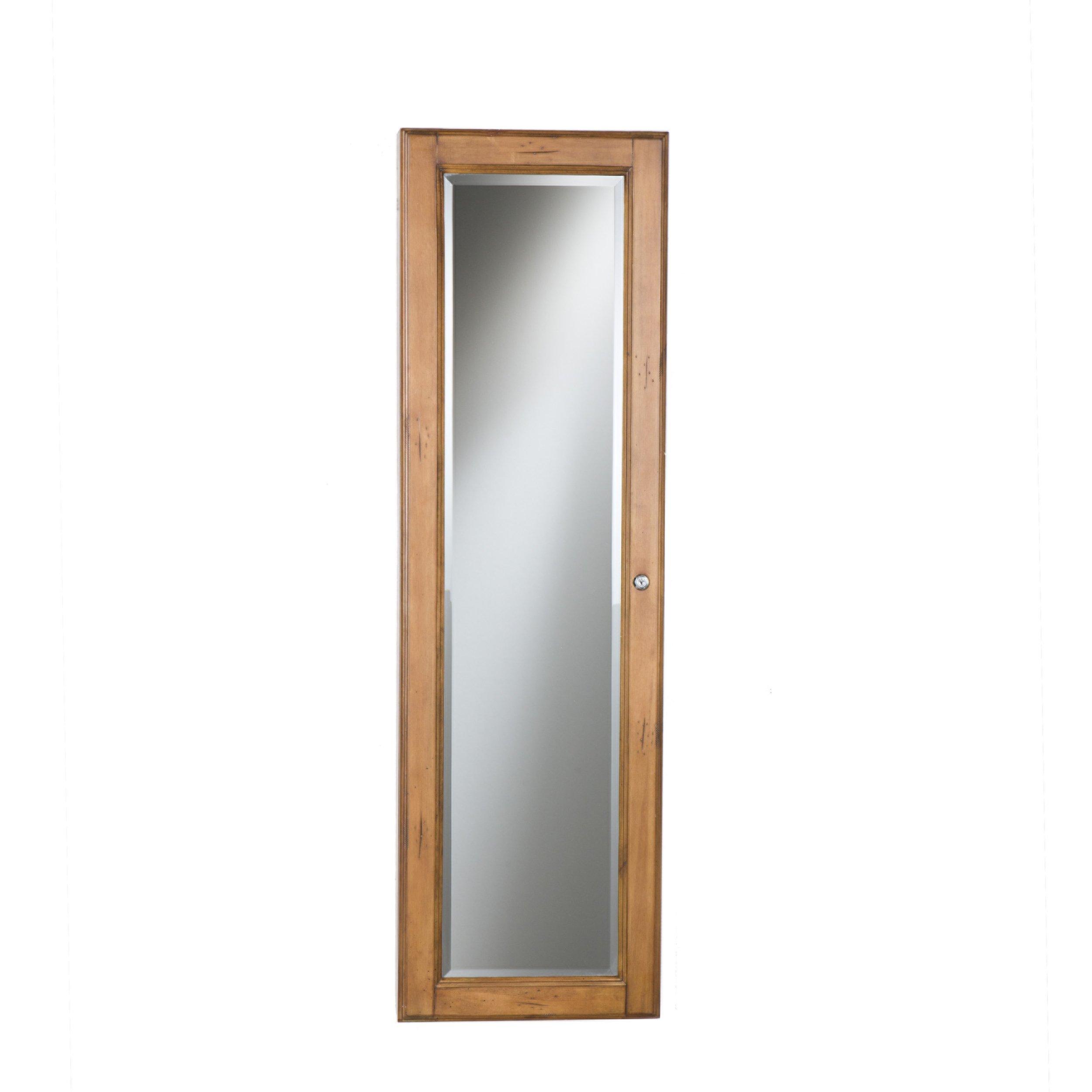 Wall Mount Jewelry Mirror - Oak
