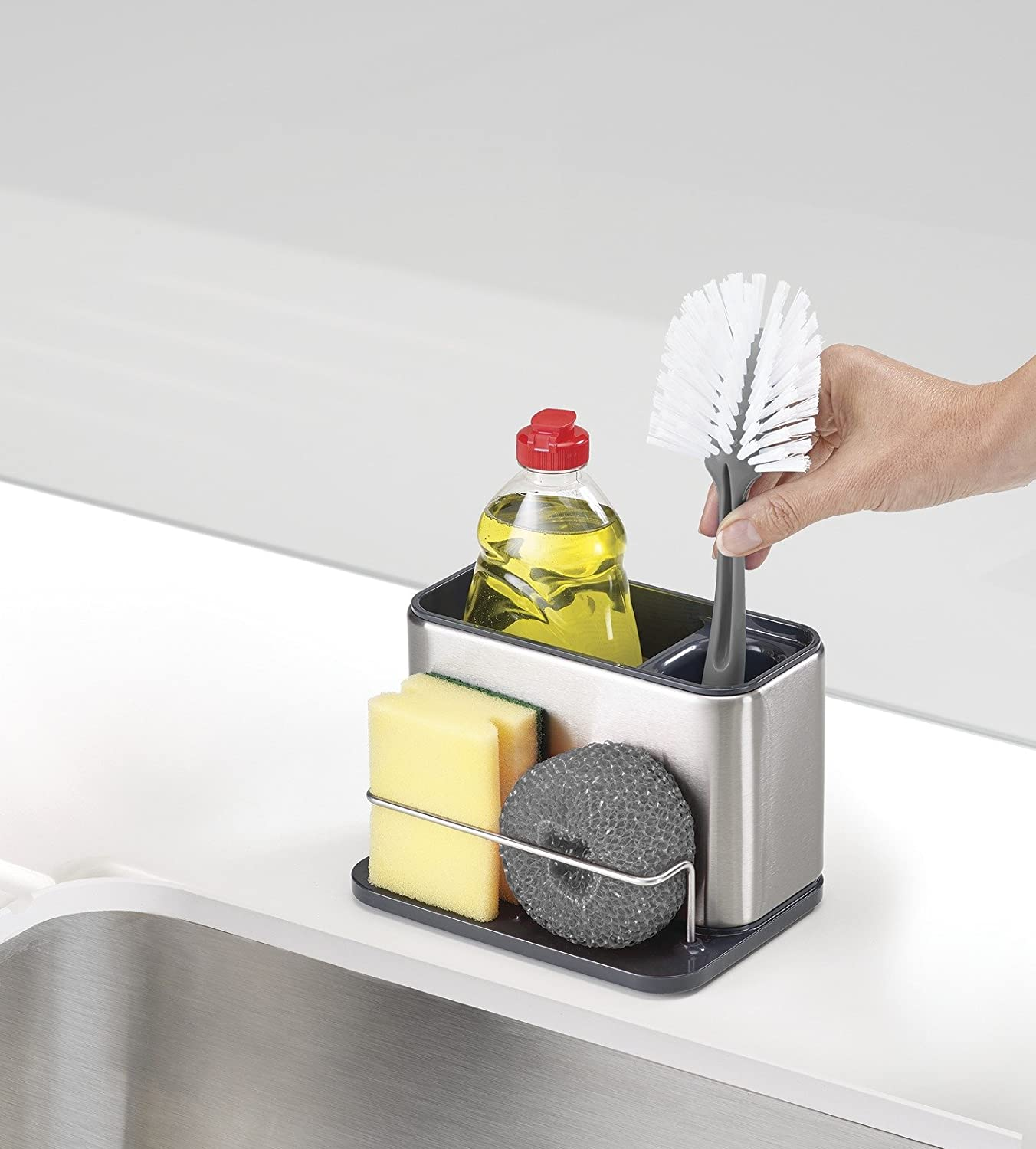 Joseph Joseph 85133 Surface Sink Caddy Stainless Steel Sponge Holder Organizer Tidy Drains Water for Kitchen Small Silver