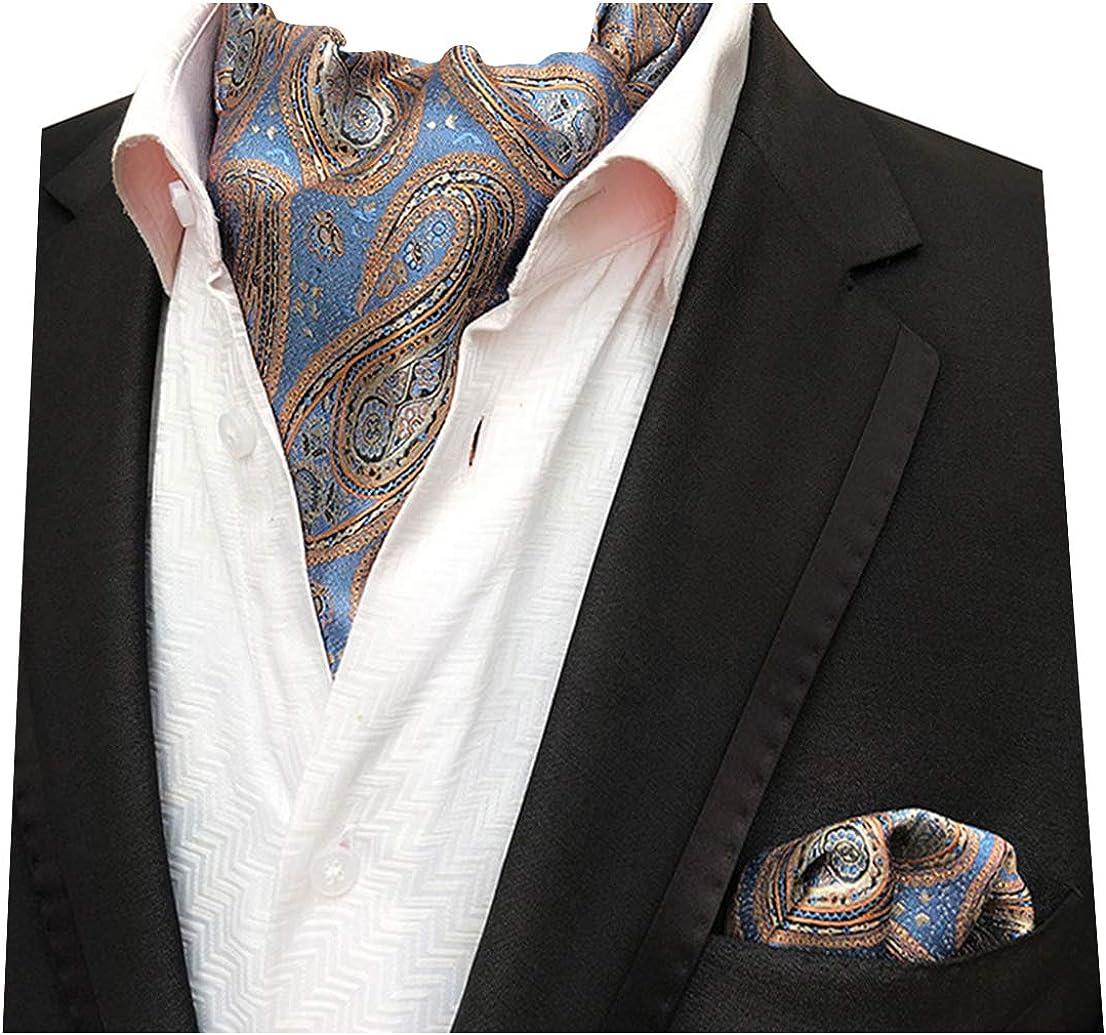 New men/'s polyester ASCOT cravat neck tie /& hankie set Charcoal Paisley prom