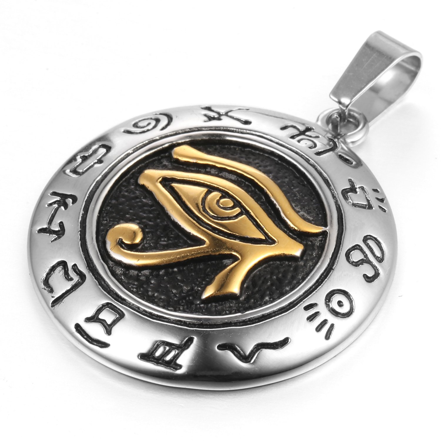 MENDINO Mens Stainless Steel Pendant Necklace Eygptian Eye of Horus Silver Gold Tone with a 22 inch Chain JPD0199SI
