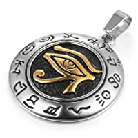 MENDINO Mens Stainless Steel Pendant Egyptian Horus Eye Symbol of Protection Polished with 22 Inches Link Chain