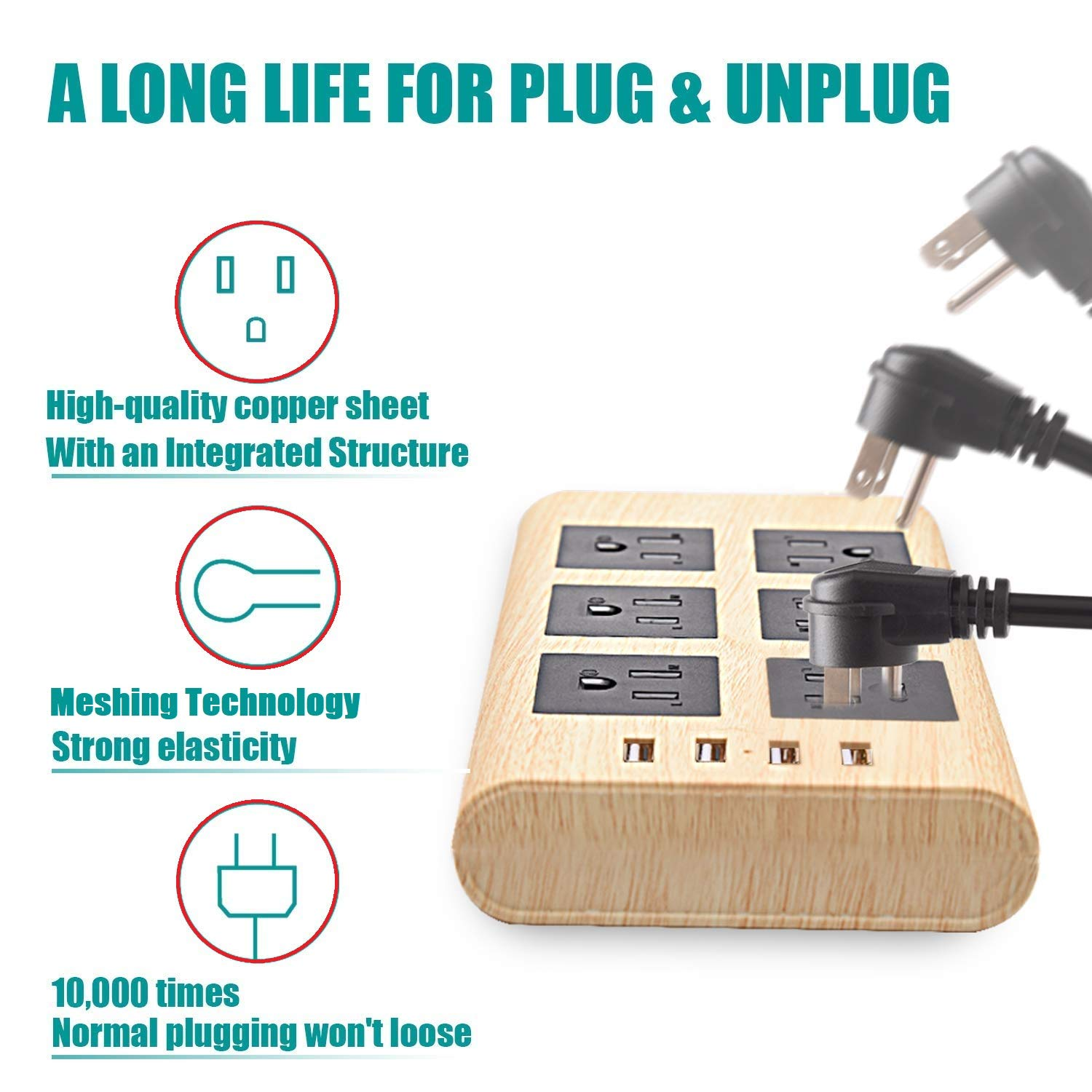 9.8ft Wood Power Strip with USB- SUPERDANNY Multi-Protection Extension Cord Right Angle Flat Plug 6 Outlets with 4 USB Fast Charging Ports for for iPhone iPad Home Indoor Office Desktop by SUPERDANNY (Image #5)