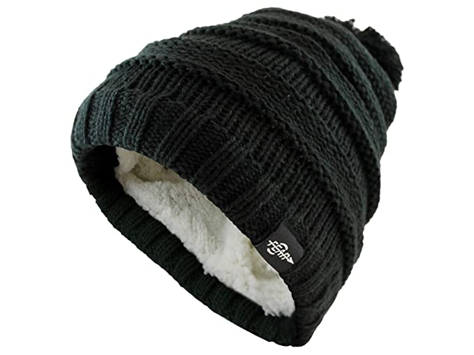 Amazon.com  Fear0 Kids Extreme Warm Plush Wool Insulated Black Knit ... 4635ea59c90