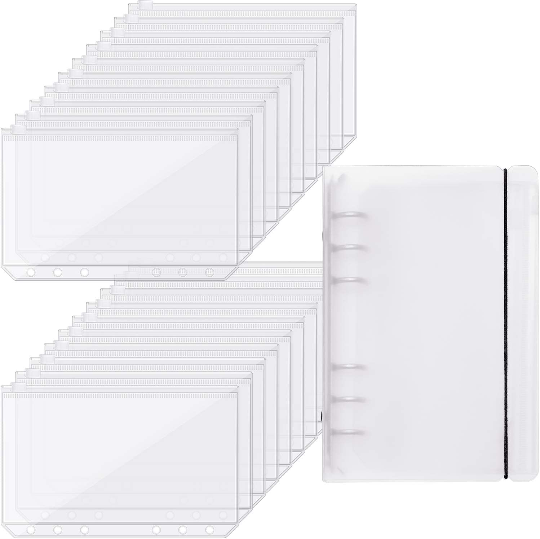 20 Pieces Binder Pocket Envelopes 6 Holes Clear PVC Zipper Binder Pockets Loose Leaf Bag Zip Envelopes with Binder Cover for School Office Supplies (A6 Size)