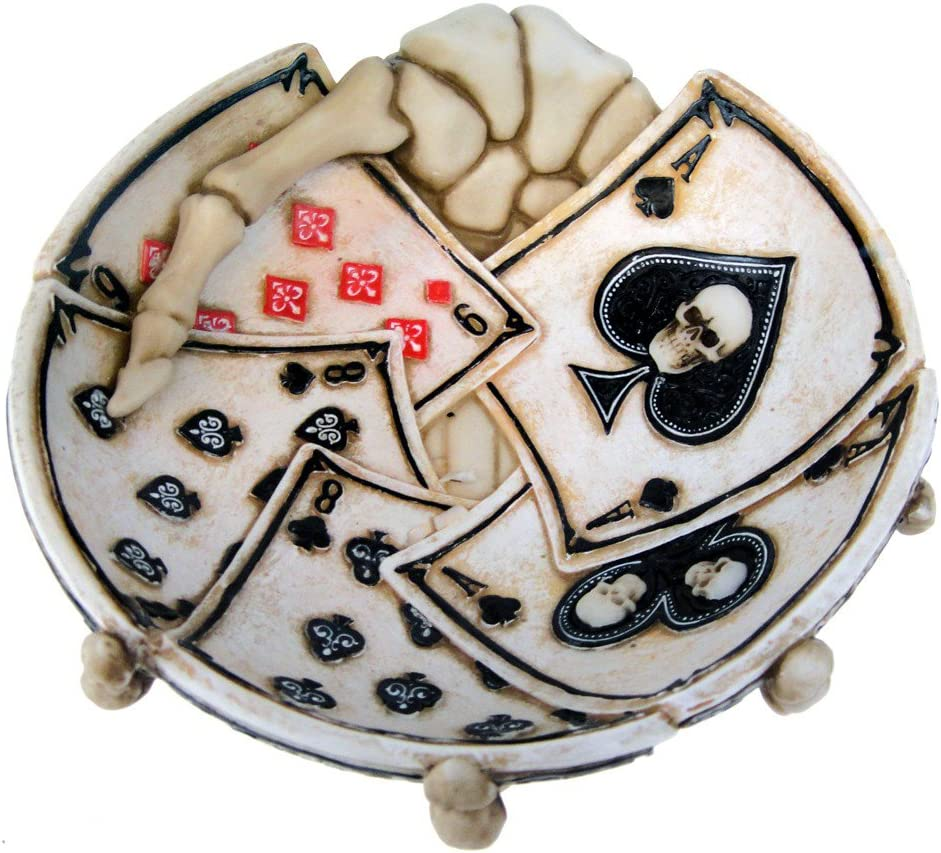 Pacific Giftware Dead Mans Hand Poker Skull Ashtray 4.75 Inch W