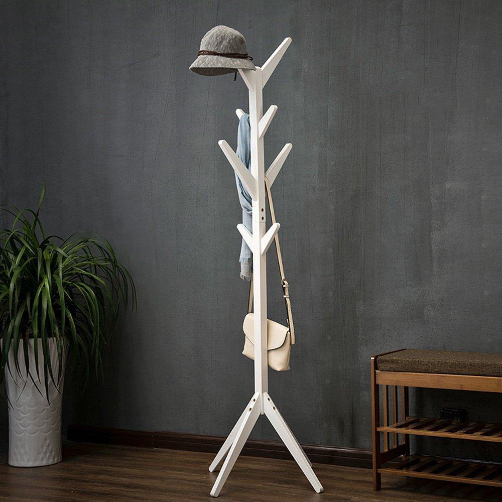 フロアスタンドコートラック、マルチフックコートとハットラック、垂直ハンガー、回転可能なクロスオーバーシャーシ材質:ソリッドウッドサイズ:175CM(高) フックの服 (色 : 白)  白 B07K25HY2Y