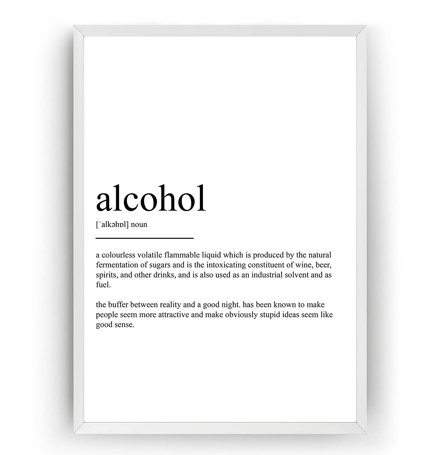 Alcohol Definition Print Frame Not Included Poster Wall Art Quote Typography Home