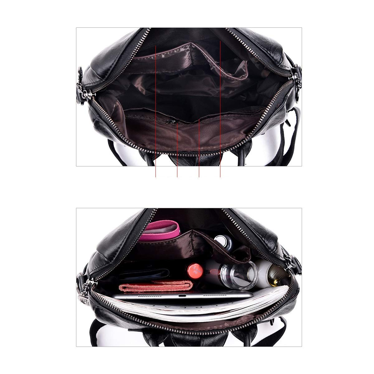 Size : 31cm31cm14cm PU Leather Black//Red//Brown//Blue Haoyushangmao Girls Multi-Purpose Backpack for Daily Travel//Travel//School//Work//Fashion//Leisure 2019 Brown