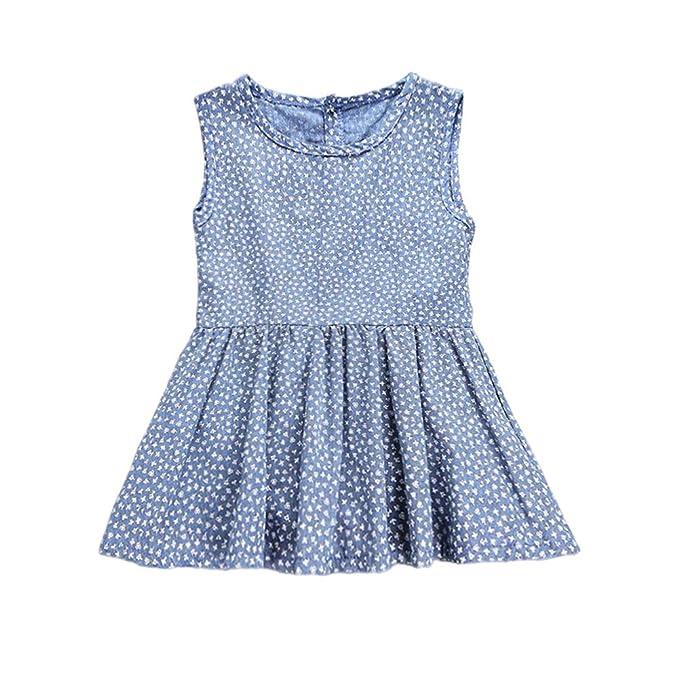 1b9d0f3ad33e YOHA Baby Girls Ruffle Jumper Dress Suspender Skirts Pinafore Toddler Dress  Blue,110