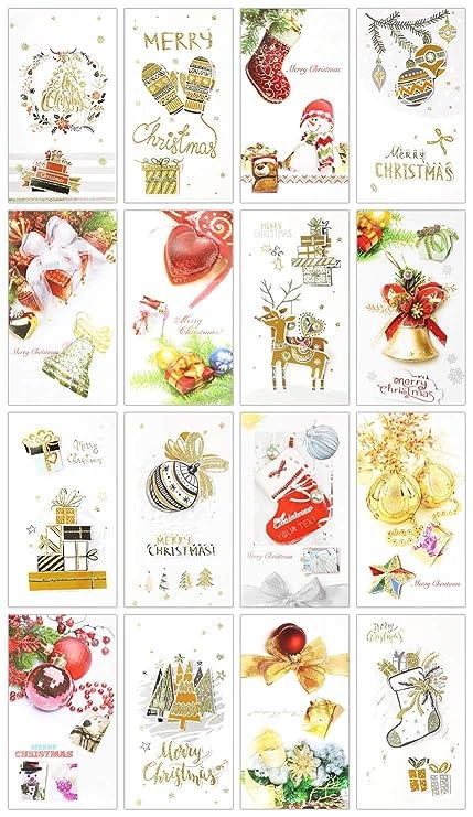 Glitter Christmas Cards.Amazon Com 16 Pack 3d Gold Glitter Christmas Greeting