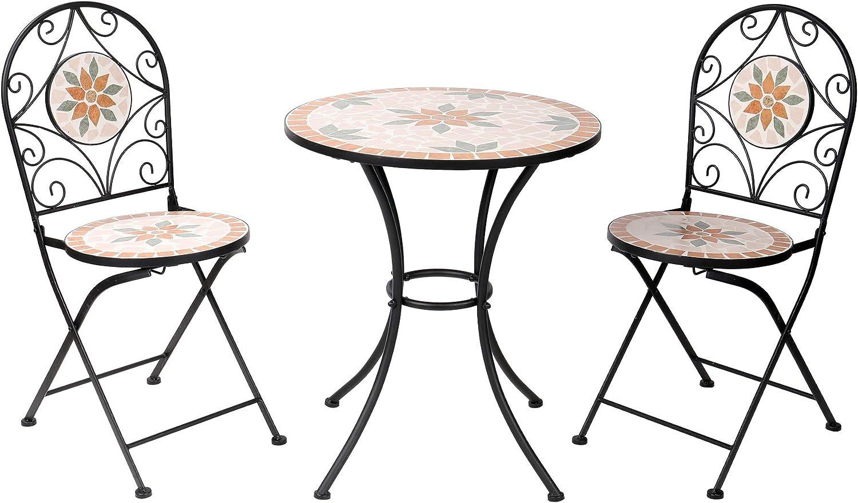 Alpine Corporation 3-Piece Mosaic Bistro Set - Outdoor Conversation Set for Patio, Yard, Garden - Tan