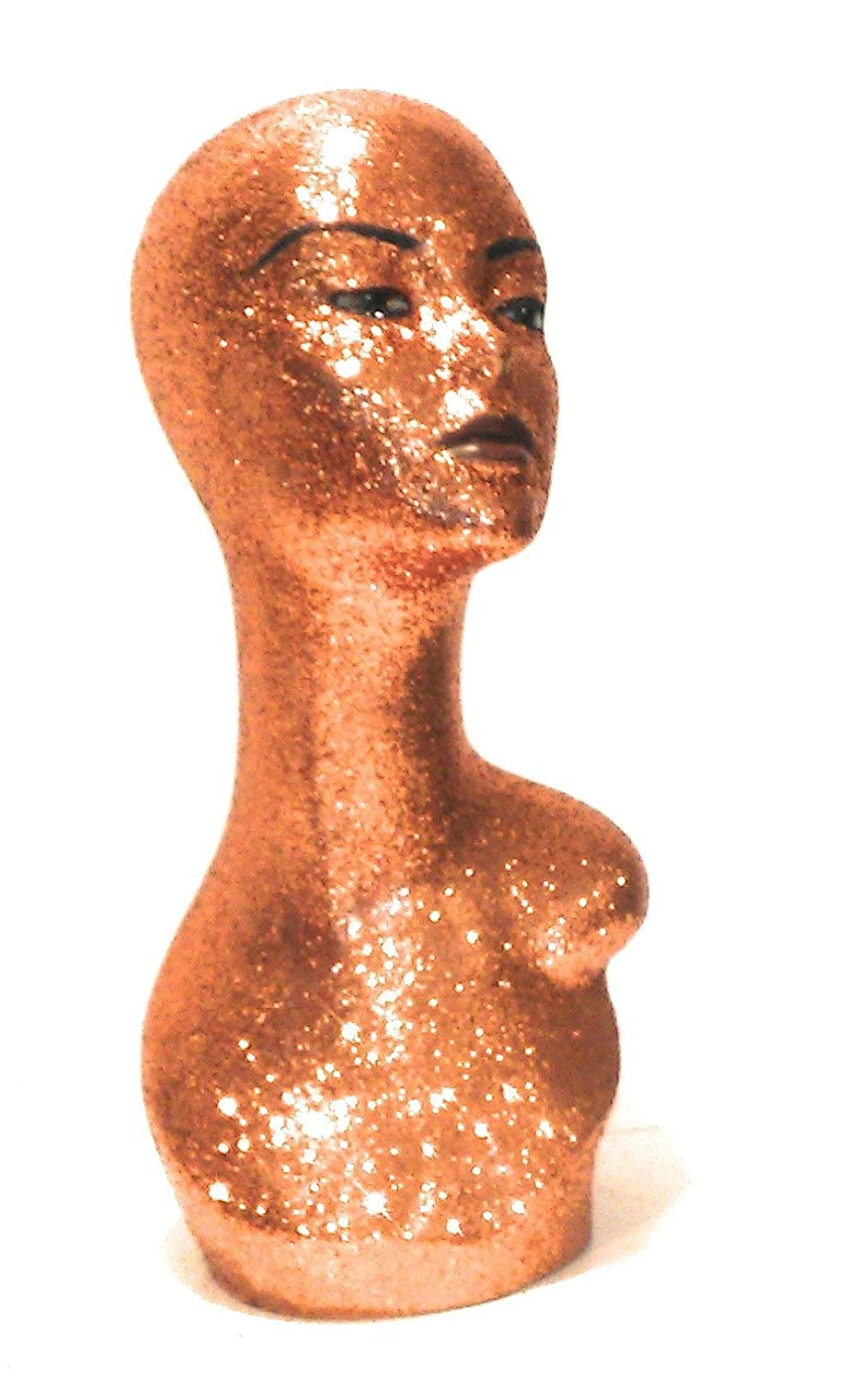 Copper Diamond Female Mannequin Glam Head for Wigs and Displays