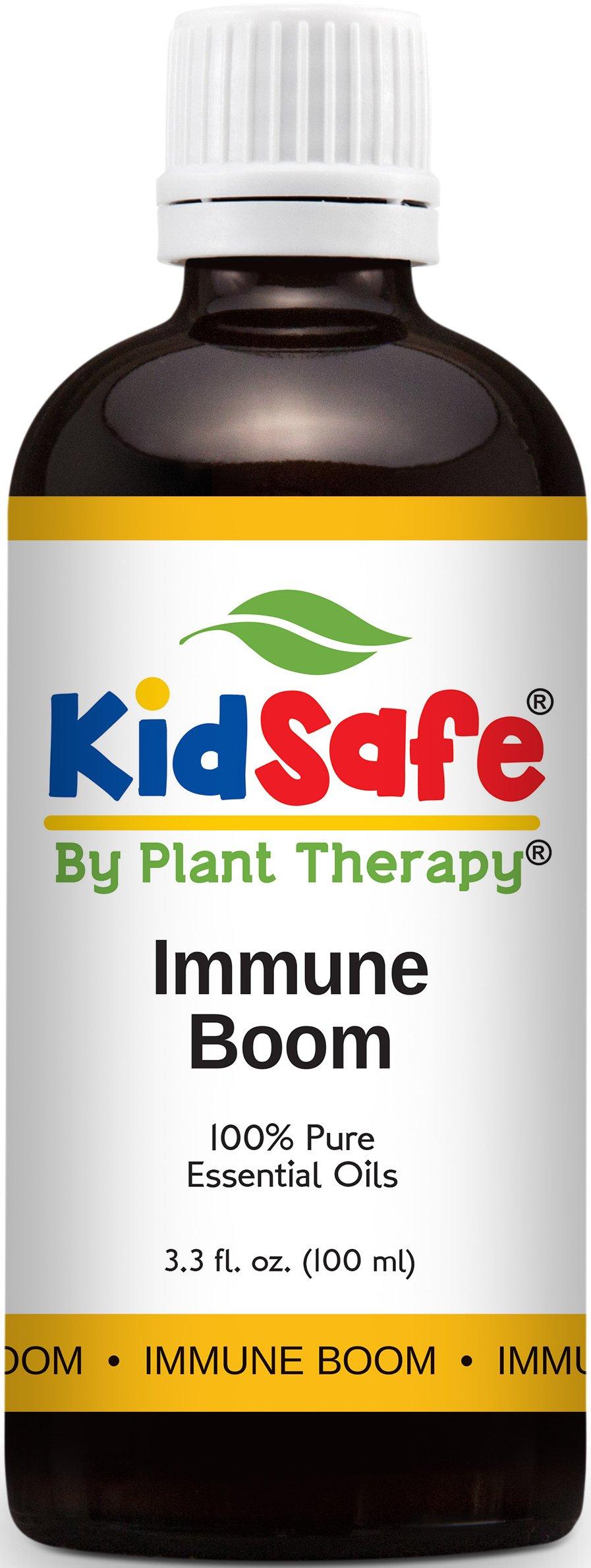 Plant Therapy KidSafe Immune Boom Synergy Essential Oil Blend. Blend of: Lemon, Palmarosa, Dill, Petitgrain, Copaiba and Frankincense Carteri. 100 mL (3.3 Ounce).
