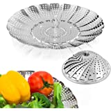 "Sayfine Vegetable Steamer Basket, Premium Stainless Steel Veggie Steamer Basket - Folding Expandable Steamers to Fits Various Size Pot (6"" to 10.5"")"