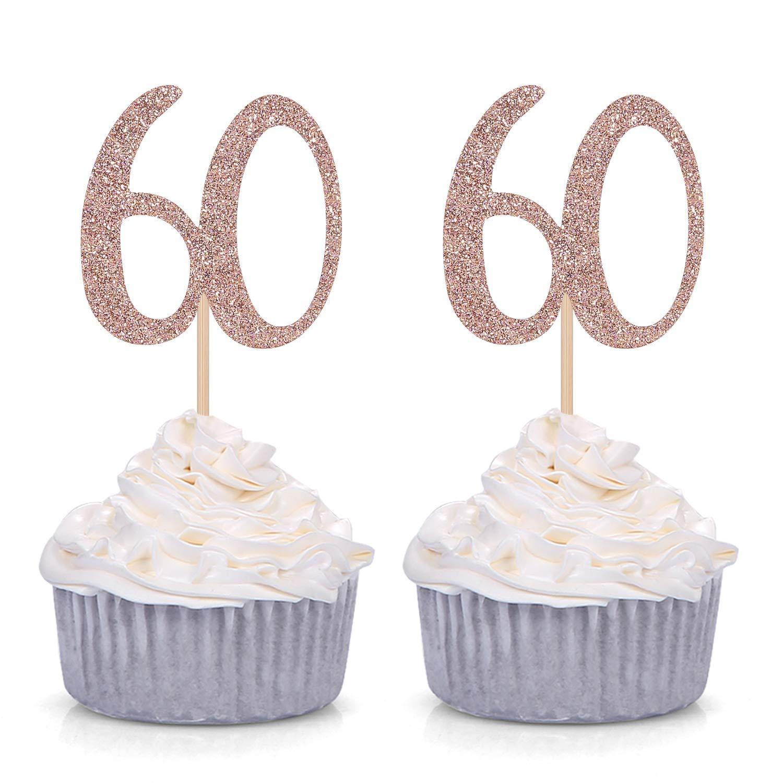 Decoración para magdalenas de 60 cumpleaños, 24 unidades ...
