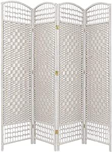 Oriental Furniture 5 1/2 ft. Tall Fiber Weave Room Divider - White - 4 Panel